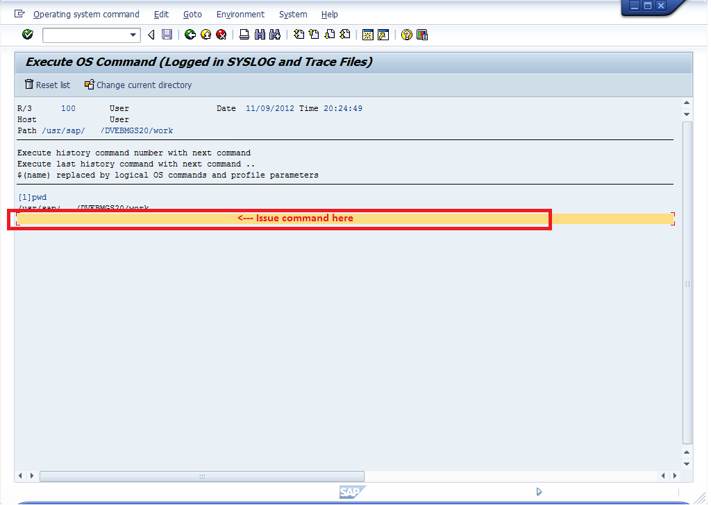 report RSBDCOS0 to issue OS level command at SAP