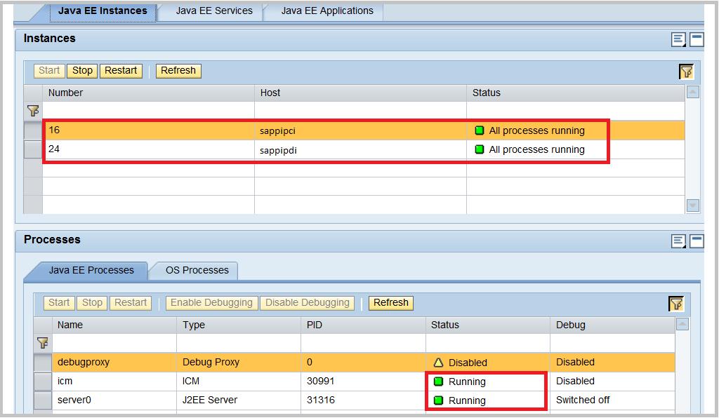 SAP NWA instance status check