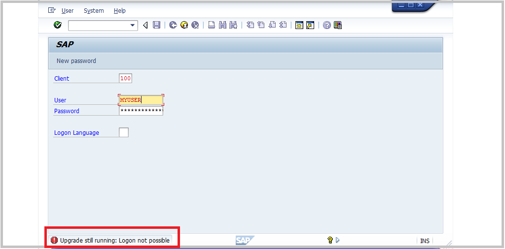 SAP tp logon message