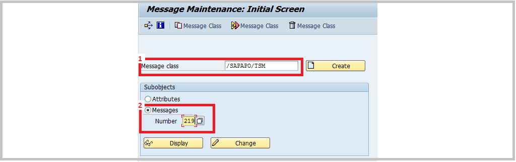 SAP SE91 Message maintenance