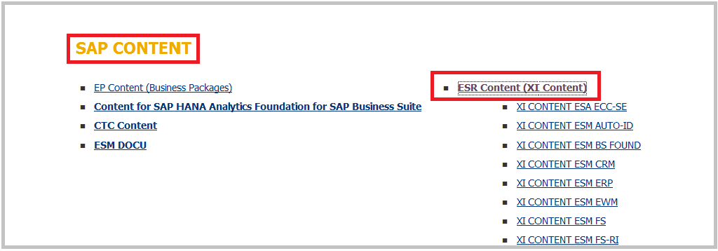 SAP PI download ESR XI content
