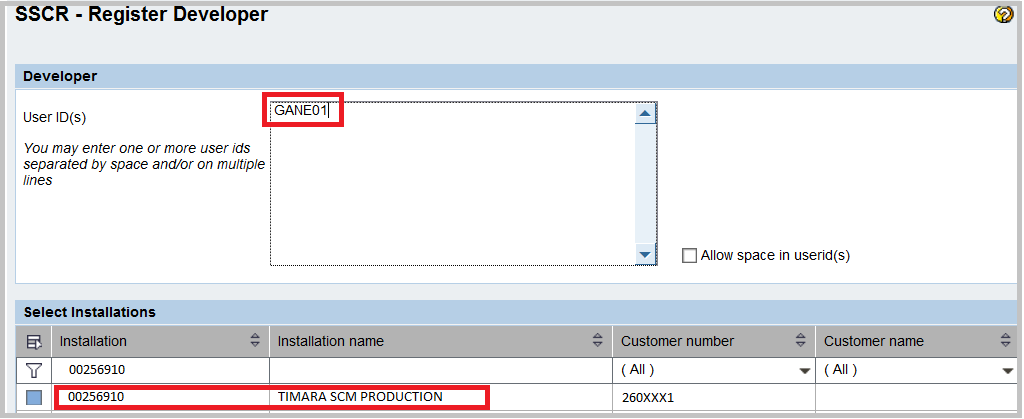 SAP Developer Key request