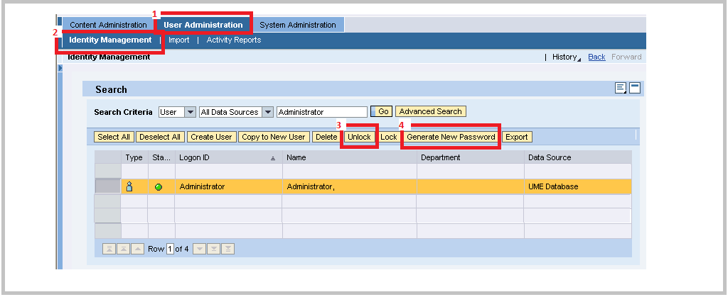 SAP Java changing Administration Password