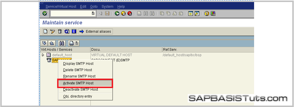 SMTP SICF Configuration
