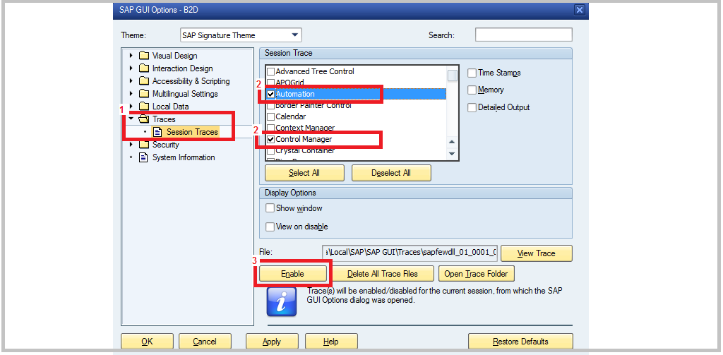 Activation SAP GUI Trace