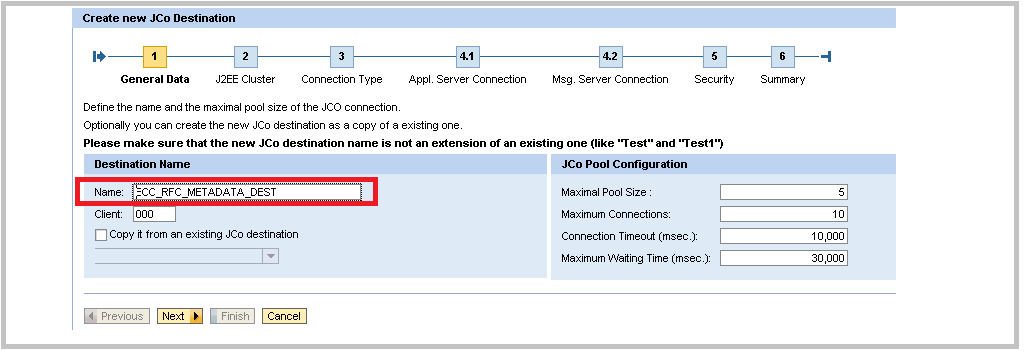 SAP Java Creating JCo Step 1