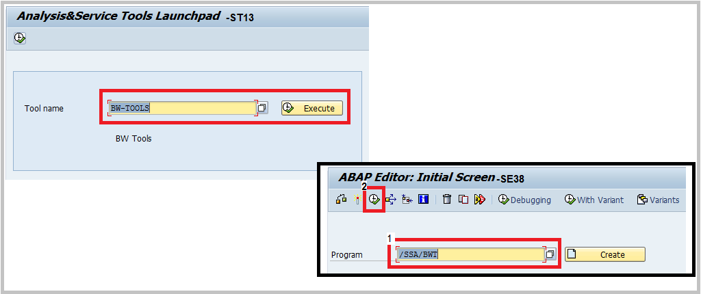 SAP BW starting BW-Tools