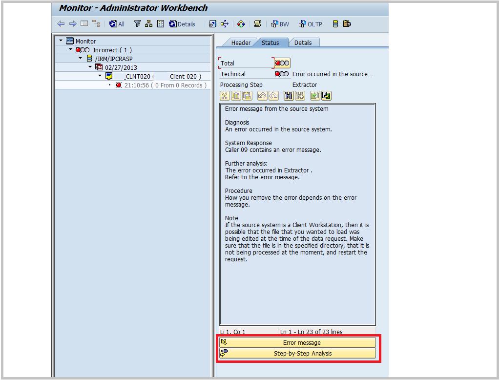 SAP BW - Process Chain step detail.