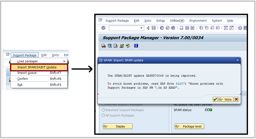 SAP import SPAM SAINT update