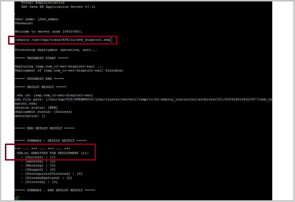 SAP Java telnet deploy web diagtool sda