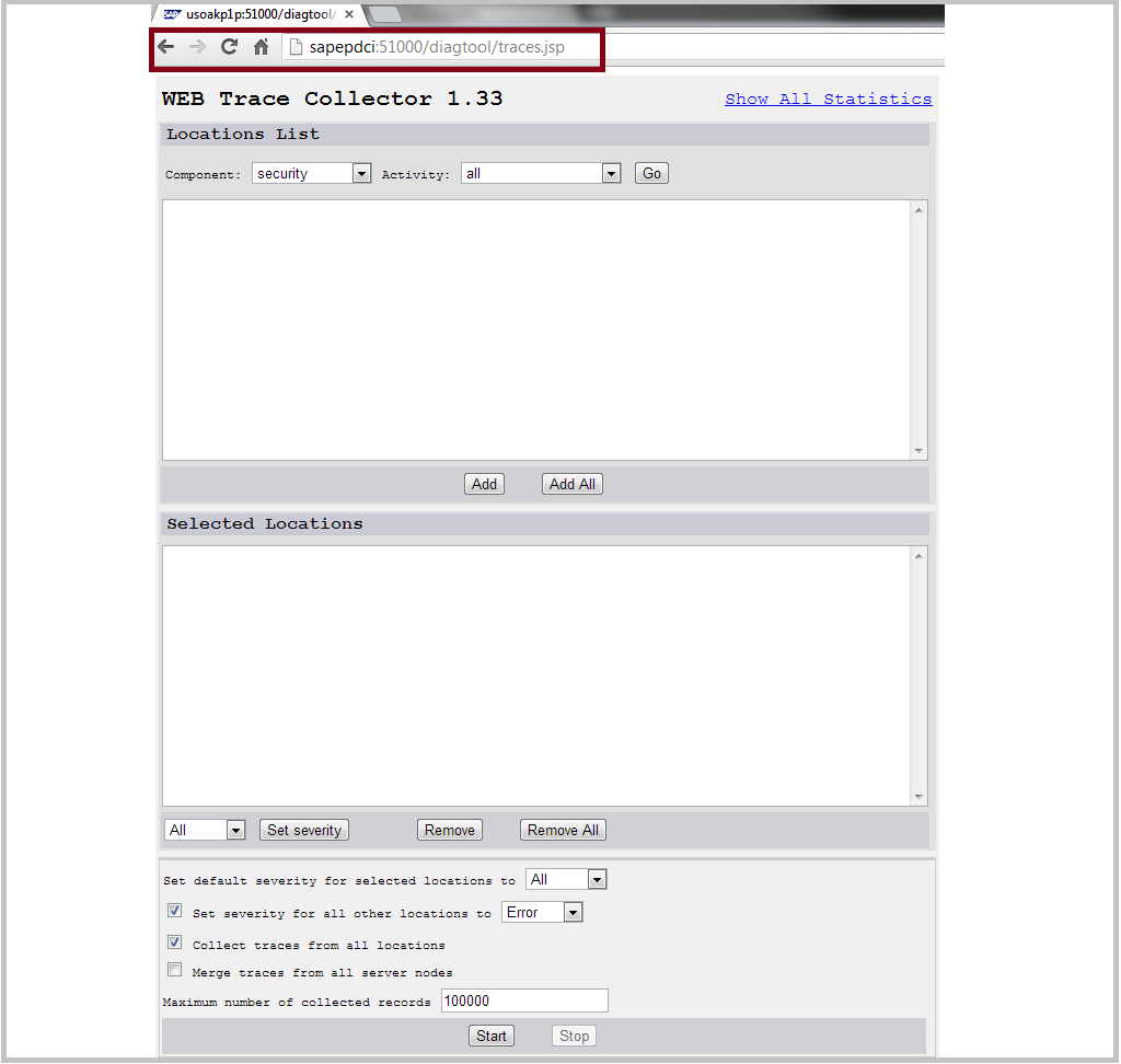 SAP Java web diagtool user inetrface