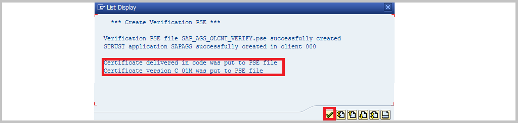 SAP RTCCTOOL confirmation
