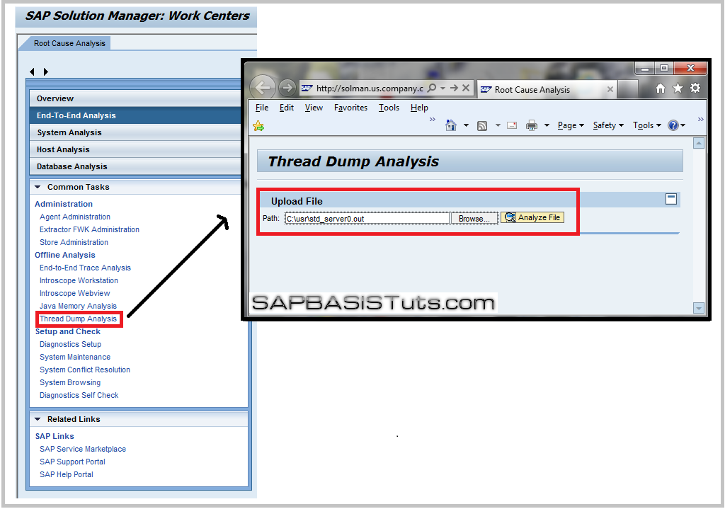 SAP Solution manager ,launch thread dump analyzer