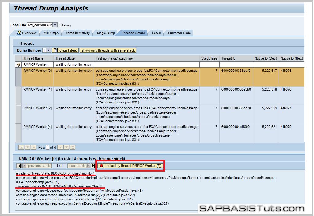 SAP Solman detail of locking threads