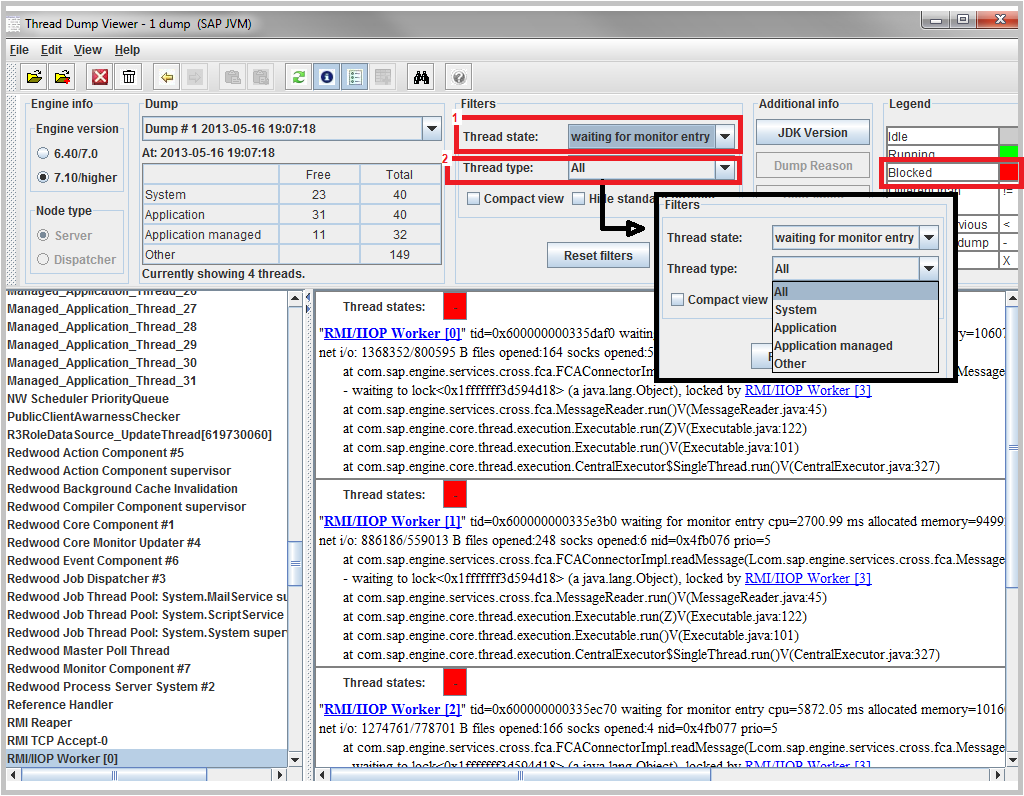 SAP Java thread dump analysis using SAP thread dump viewer
