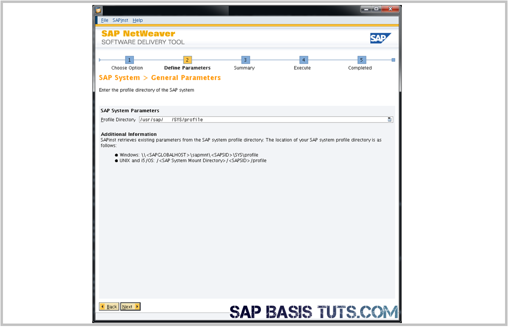 SAP Switch tool Screen 1