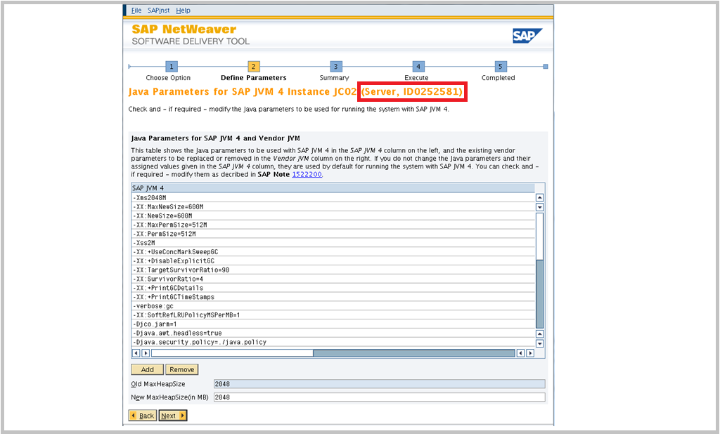SAP Switch tool Screen 5