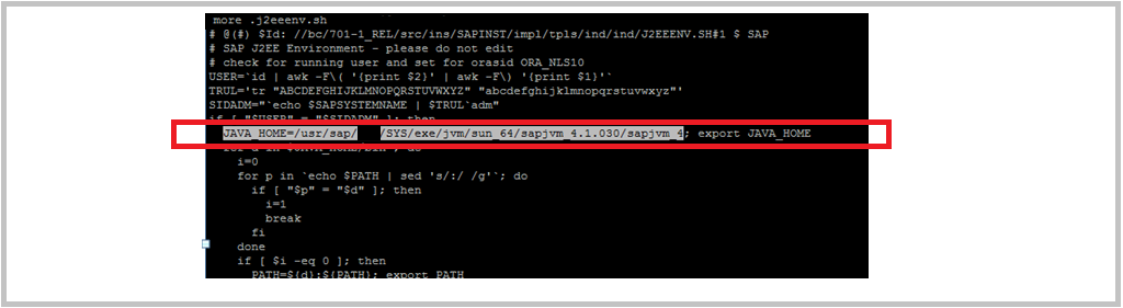 SAP JAVA_HOME environment variable in UNIX