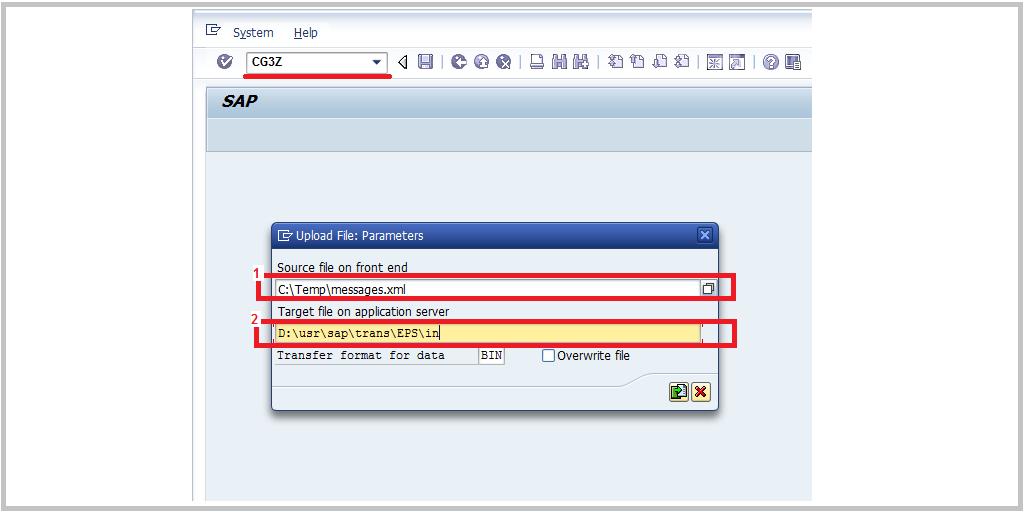 SAP CG3Z upload files
